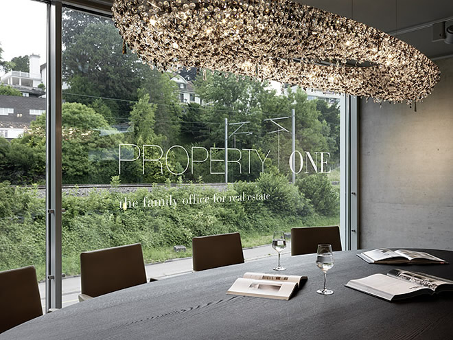 Artica in an Office Space in Zürich, Manooi Crystal Chandeliers