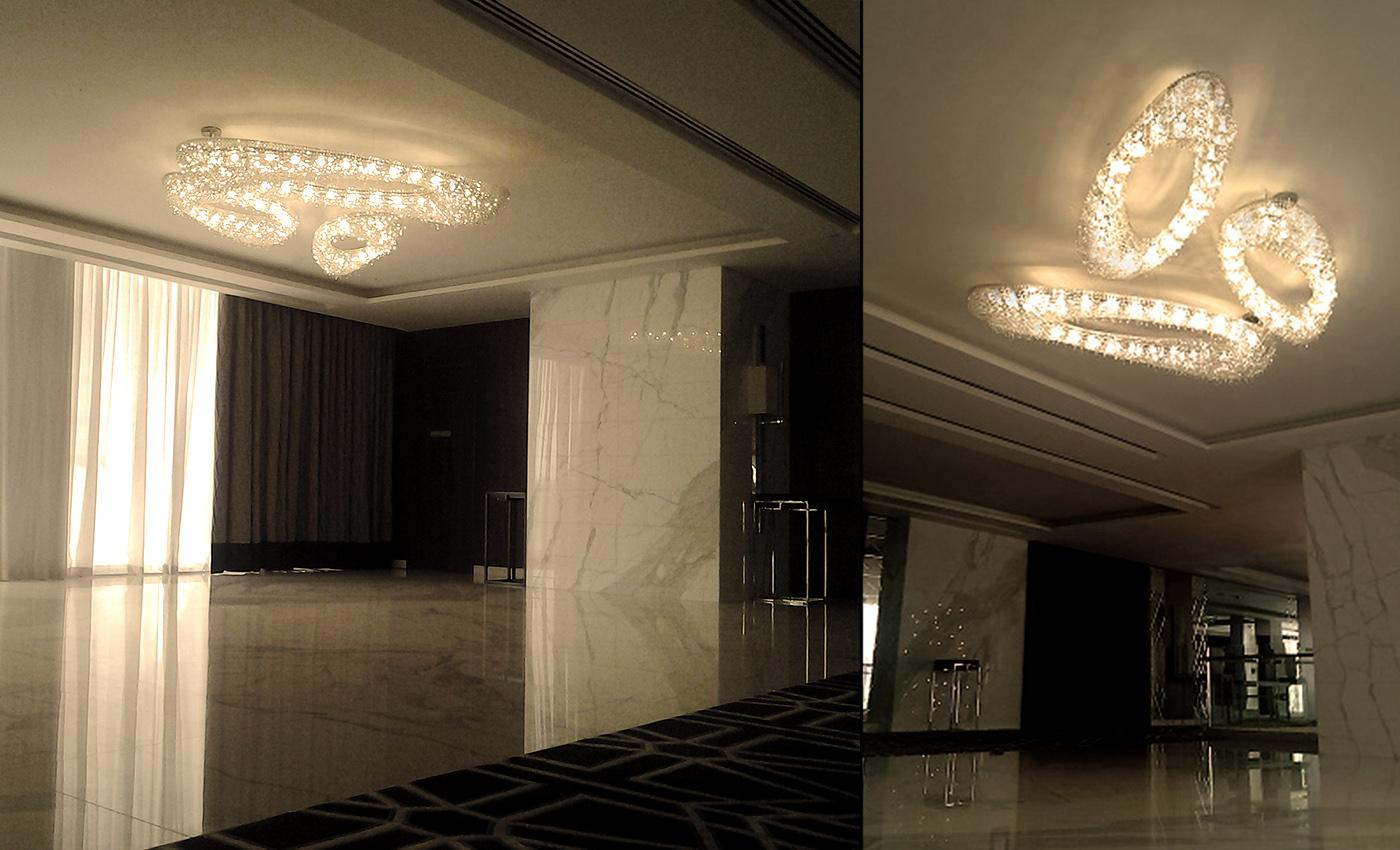 Artica Composition – Grand Sheraton Hotel, Dubai, Manooi Crystal Chandeliers