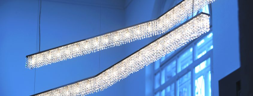 Bazaar: a FINE LINE times two, Manooi Crystal Chandeliers