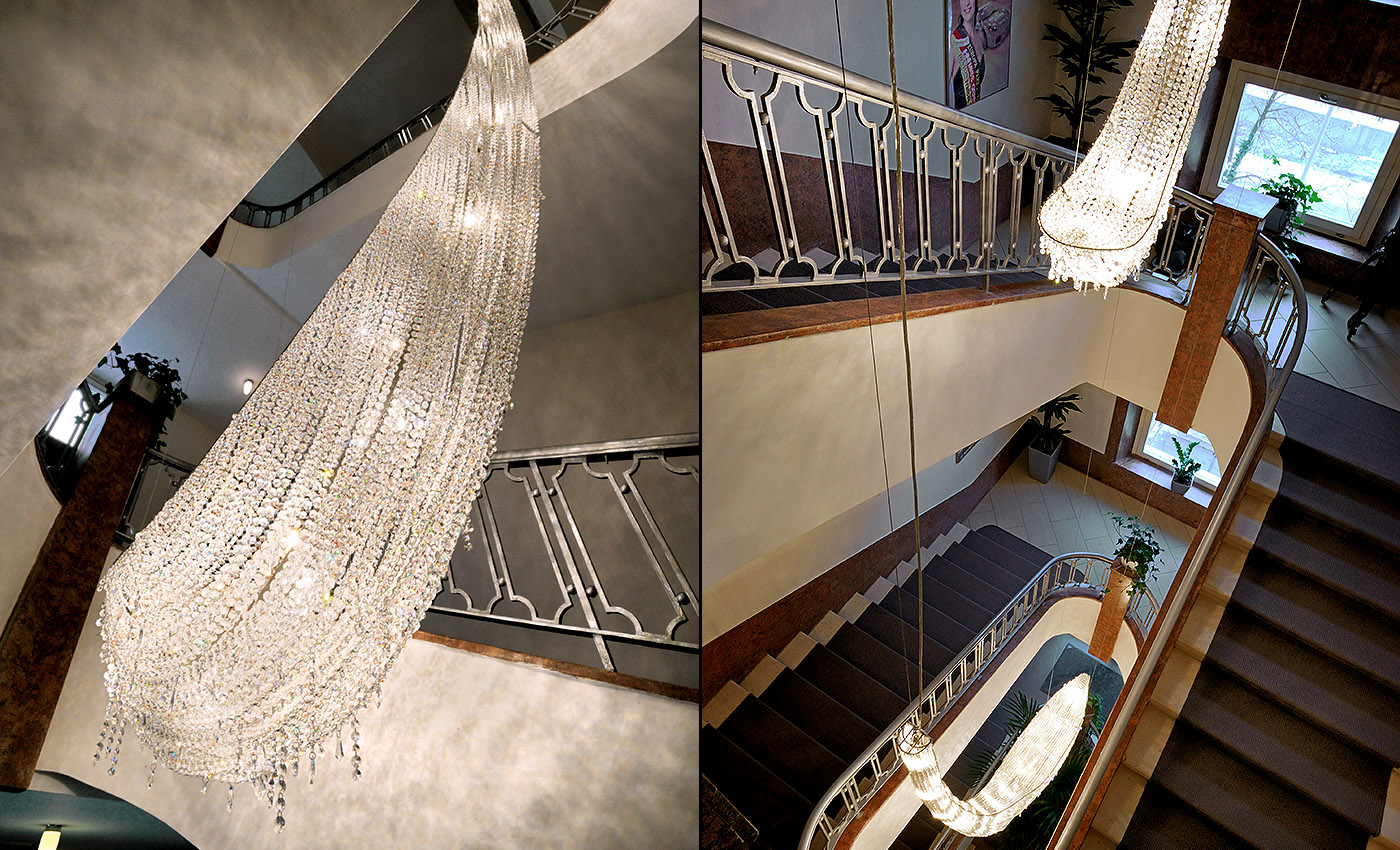 Bespoke Crystal Creation – Icefall, Manooi Crystal Chandeliers