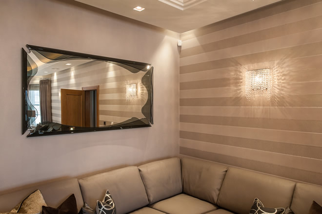 Linea W crystal wall sconces in a private residence, Manooi Crystal Chandeliers