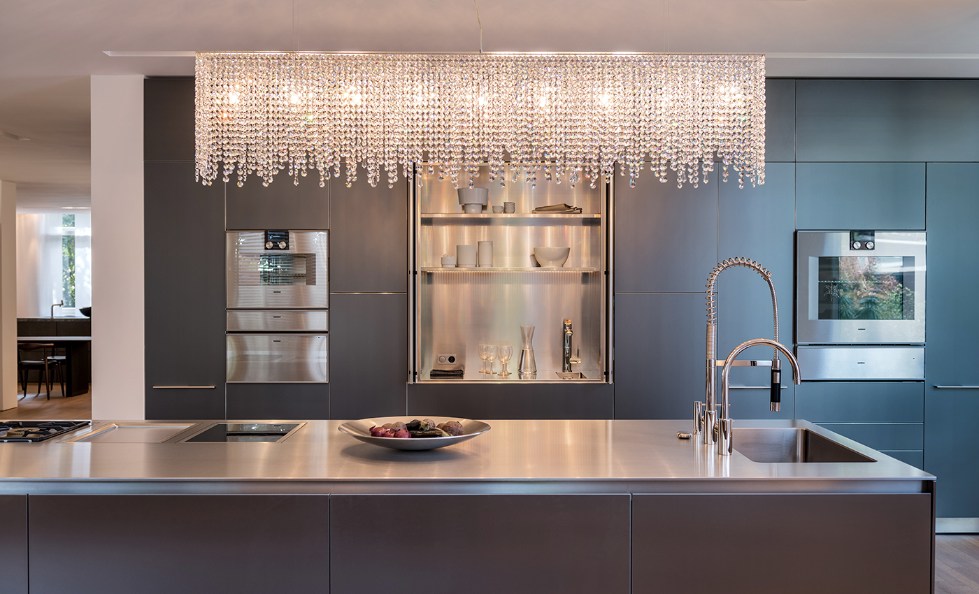 Manooi Crystal Chandelier Collection in Bulthaup Showroom