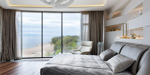 Polaris Composition in a Modern Bedroom, Manooi Crystal Chandeliers