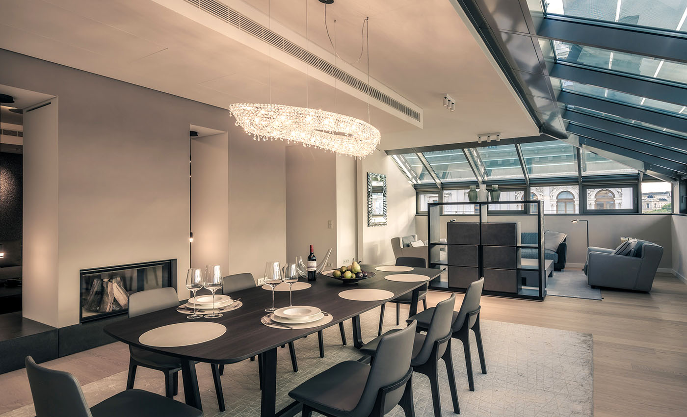Rose in a luxury apartment in Austria, Manooi Crystal Chandeliers