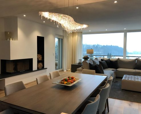 Atoll crystal chandelier shines in a private residence, Manooi Crystal Chandeliers