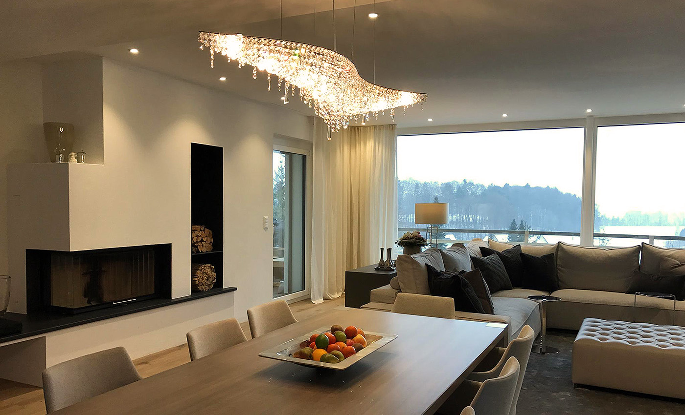 Villa in Switzerland, Manooi Crystal Chandeliers